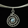 Necklace/Pendant-Swiss blue topaz in woven silver spirals
