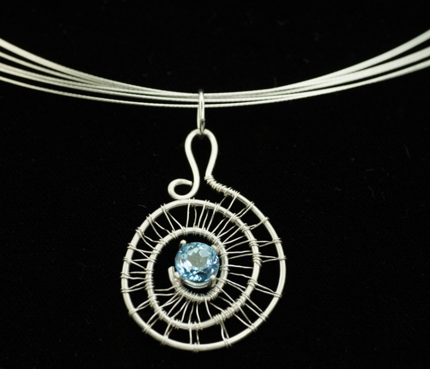 Faceted Swiss Blue Topaz in a Woven Silver Spiral Pendant on Cable ...
