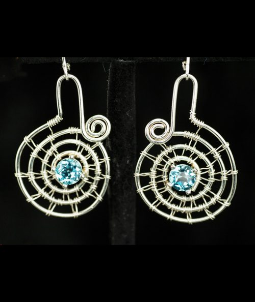 woven silver spiral earrings with blue topaz