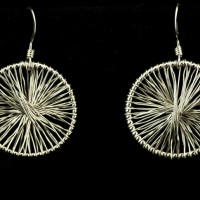 earrings-woven silver disks