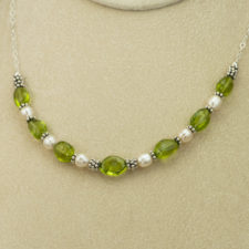 Necklace - Peridot pearl and silver wedding_1