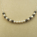 Necklace - pearl and silver wedding_1