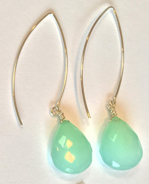 aqua chalcedony faceted brio earrings