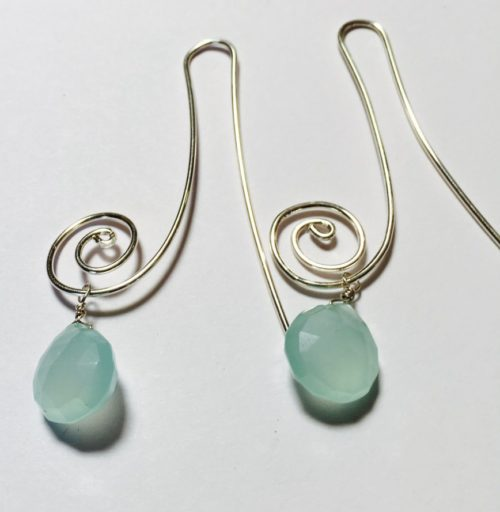 Aqua Chalcedony Heart Brio Earrings
