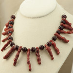 Necklace - apple coral and horn bead bride's necklace_1