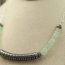 Aqua chalcedony and silver necklace