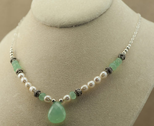 aqua chalcedony necklace