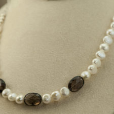 pearl and smoky quartz necklace