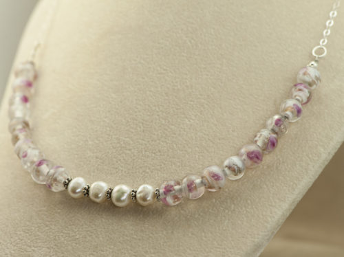 pink and white lampwork bead and pearl necklace