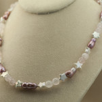 pink pearl and rose quartz necklace