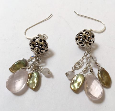 Pearl Rose Quartz Dangle Earrings 5