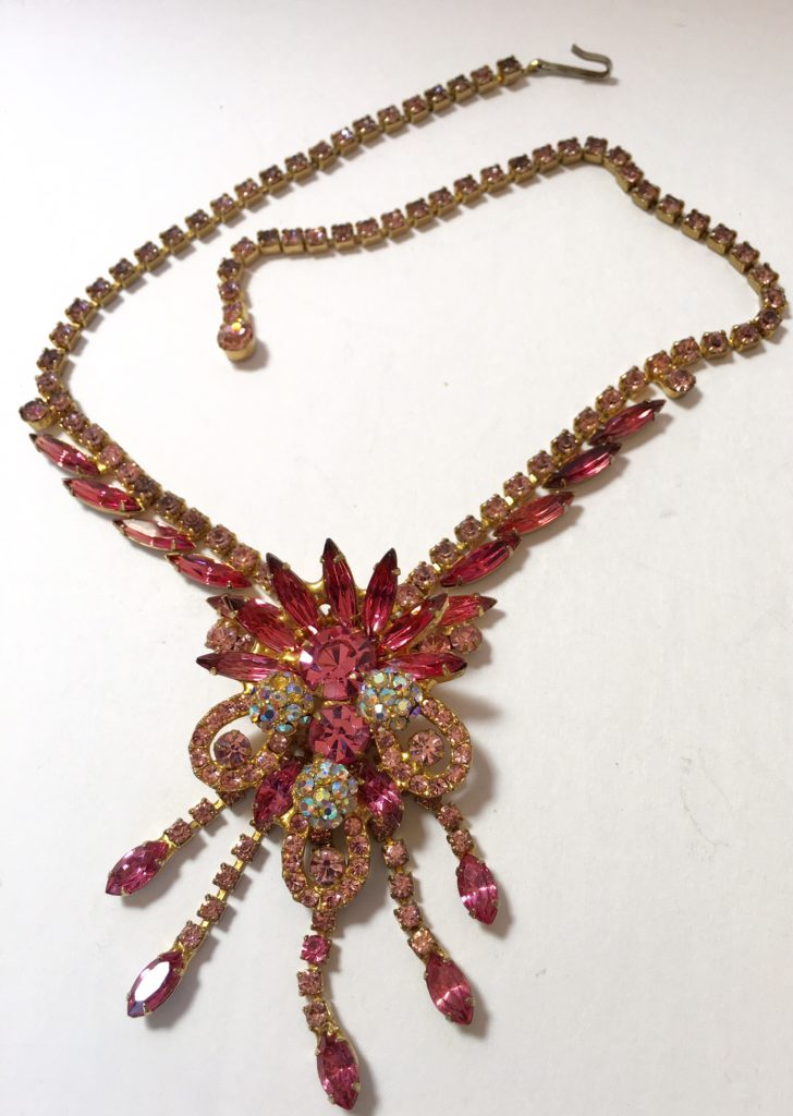 Juliana D Amp E Verified Pink Rhinestone Vintage Necklace With