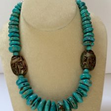 turquise necklace with faience scarabs