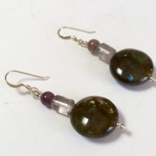 Labradorite fluorite amethyst earrings