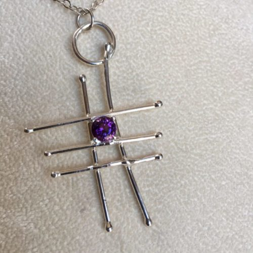 Abstract Pendant with Amethyst