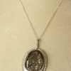 Pendant-Druzy pyrite on ammonite in silver pendant