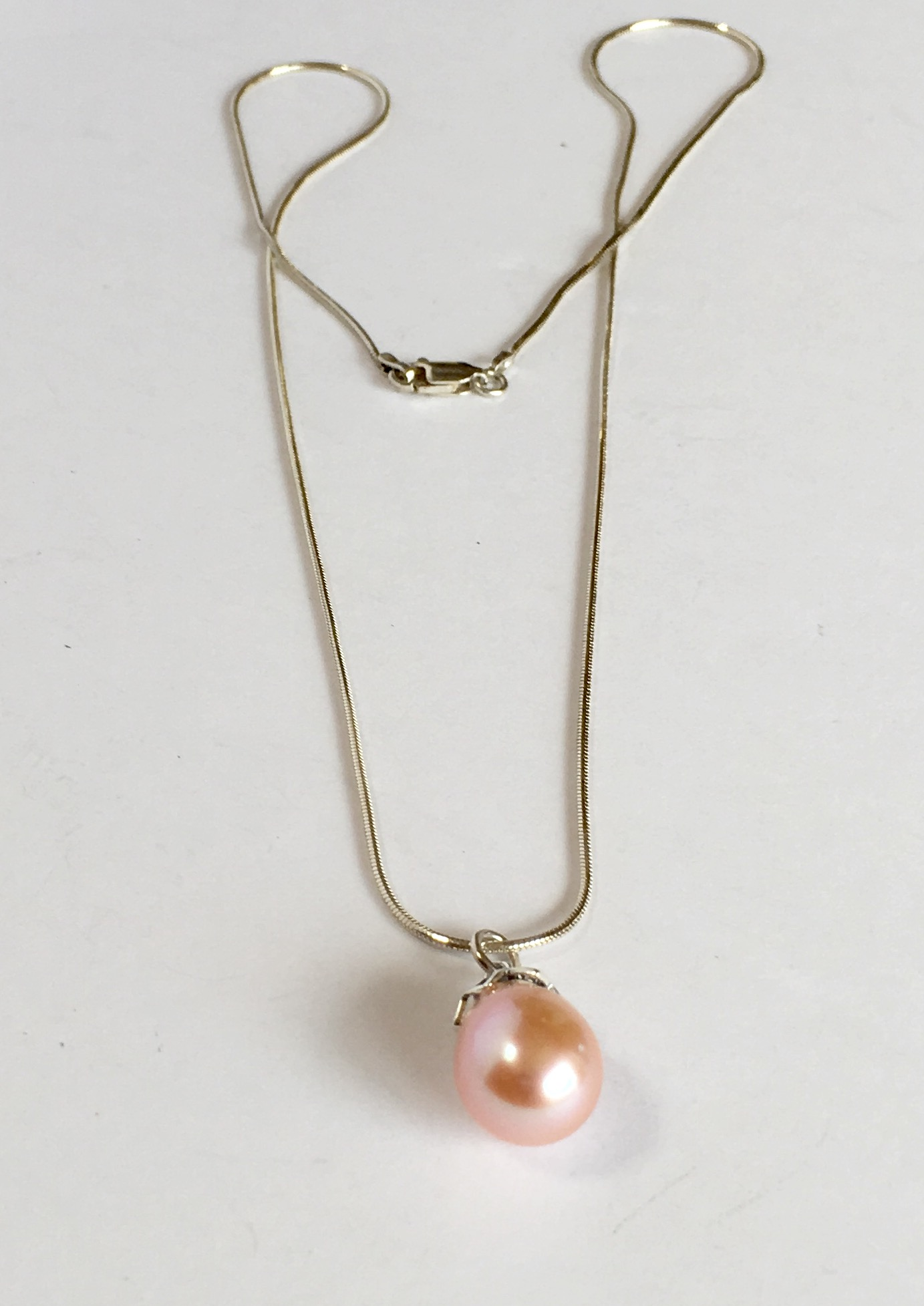 kalevala silver pendant necklace pink twinflower pearl