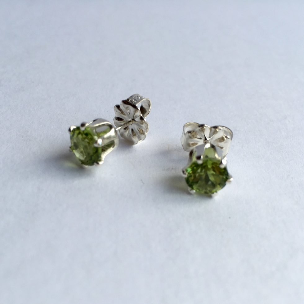 cut market mined il peridot sterling genuine etsy cushion stone earrings setting silver natural