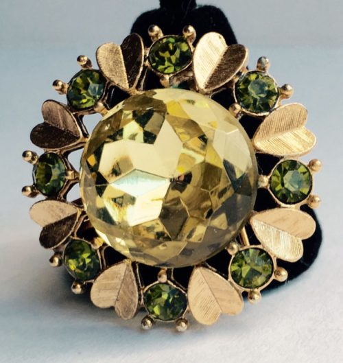 AVON vintage brooch pendant lemon color stone