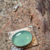 aqua chalcedony and chased silver pendant