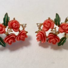 coral flower motif earrings
