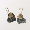14k gold and silver heart earrings