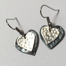 silver and black heart earrings