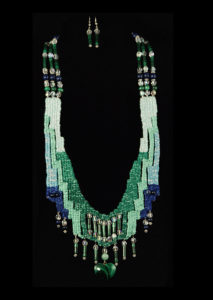 Emerald green and teal woven necklace with malachite and crystal
