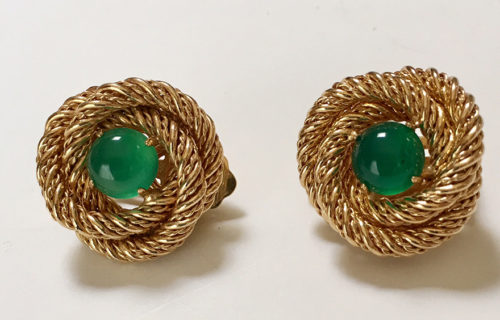twisted rope earrings green stones