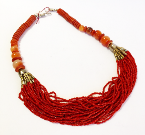 Multi-strand faux coral necklace with carnelian and agate beads