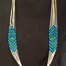 Native American azurite, malachite and lapis liquid silver necklace