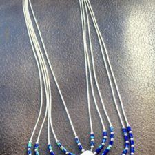 Liquid silver and azurite necklace