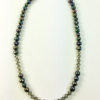 Dark blue pearl necklace with crystal