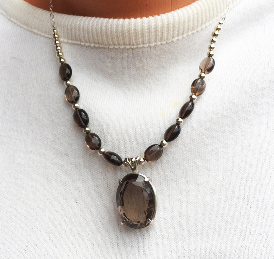 Smoky quartz gemstone necklace with faceted smoky quartz pendant smoky quartz gemstone necklace aloadofball Images