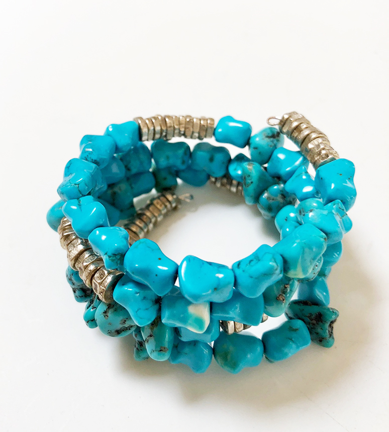 A Turquoise Nugget Wrap Around Bracelet-nuggets and beads on memory wire