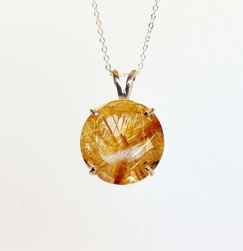 faceted rutilated quartz pendant in sterling silver