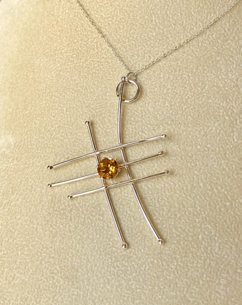 abstract sterling silver pendant with citrine