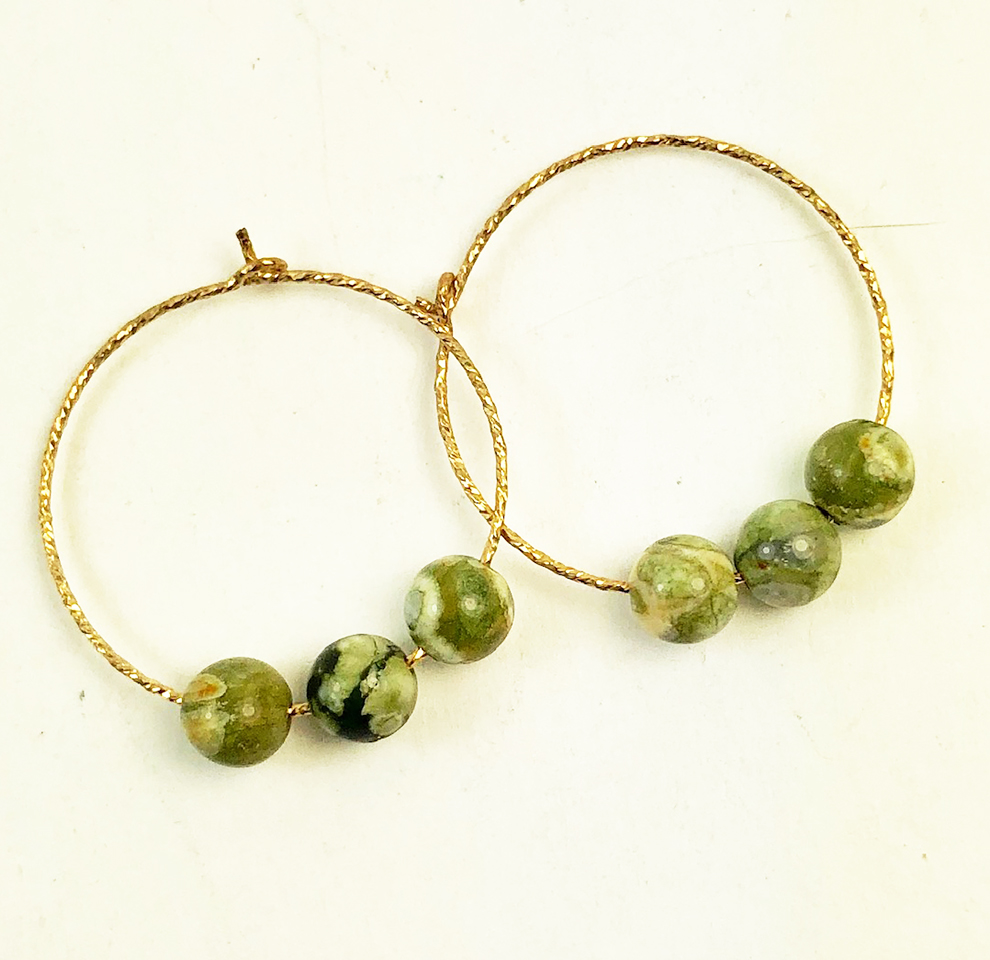 gold filled hoop earrings jasper beads
