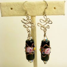 black wedding cake bead earrings