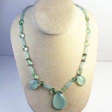 aqua chalcedony fluorite necklace