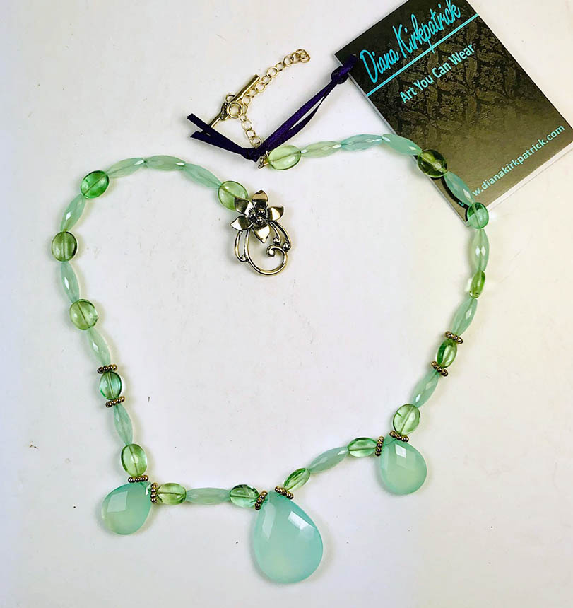 aqua chalcedony and fluorite necklace