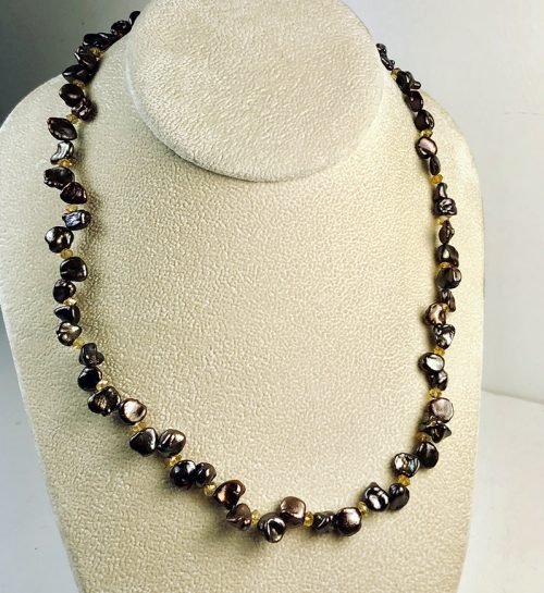 iridescent chocolate keishi pearl and citrine necklace