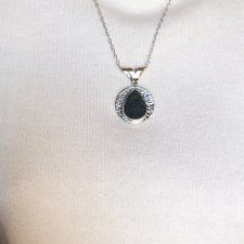 black druzy and hammered silver pendant