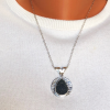 Black druzy quartz in hammered sterling silver pendant
