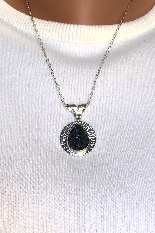 Silver pendant with black druzy