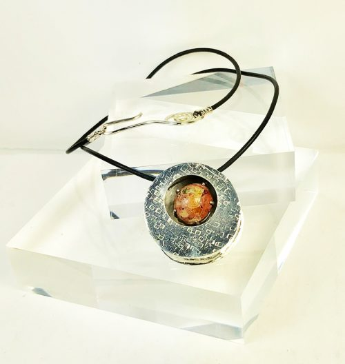 textured box pendant with fire opal