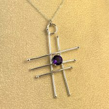 sterling silver abstract pendant wiht amethyst