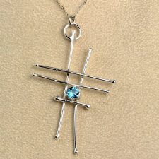 blue topaz abstract pendant