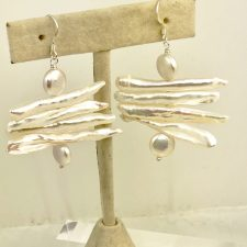 white stick pearl earrings