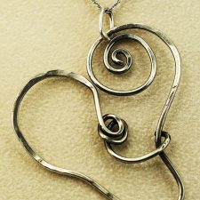 Antiqued sterling silver heart pendant